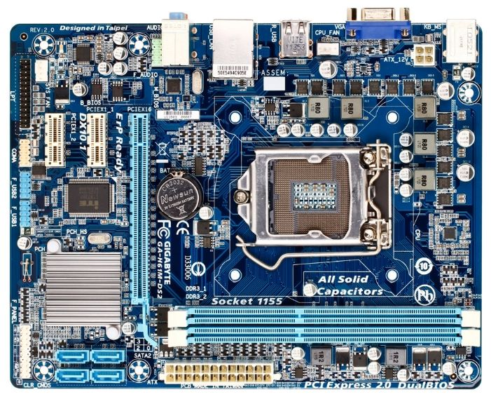 Gigabyte GA-H61M-DS2 (LGA1155, 2xDDR3 1333 up to 16GB, VGA, DVI, mATX) (Б/У)