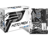 Asrock H270 PRO4 (LGA1151, 4xDDR4 2400 up to 64GB, Sata 3, USB 3.0, VGA, DVI, HDMI)(Б/У)